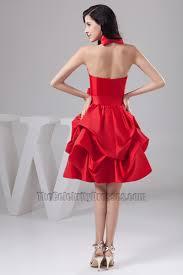 red knee length halter taffeta cocktail party graduation dresses