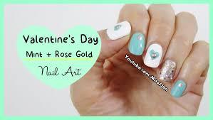 easy valentine u0027s day mint u0026 rose gold nail art missjjan youtube