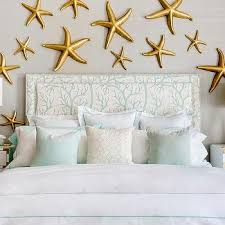 Gold Room Decor Contemporary Beach Cottage Bedroom With Gold Starfish Wall Decor