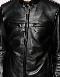 mens leather biker jacket replay leather biker jacket vintage look in black for men lyst