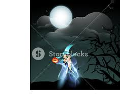background for halloween banner or background for halloween party with beautiful witch on