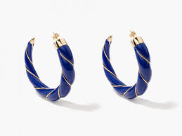 navy blue earrings diana navy blue twisted hoop earrings aurélie bidermann