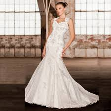 elegant scoop neck lace mermaid wedding dresses 2017 tulle lace
