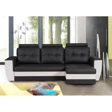 canapé d angle convertible avec tetiere canapé d angle convertible avec tétiéres noir blanc calvi achat