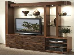 Tv Unit Design For Hall by Wall Tv Cabinet Large Brown Finish Wooden Wall Tv Cabinet