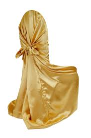 universal chair covers universal satin self tie chair cover bright gold at cv linens cv