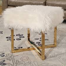 yvette stainless steel faux fur stool white abbyson target