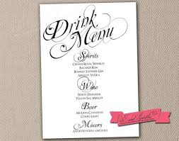 drink menu template free sle wedding menu templates free