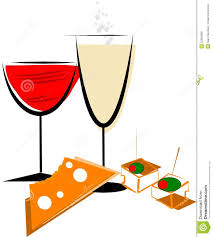 cartoon wine and cheese and cheese party clipart