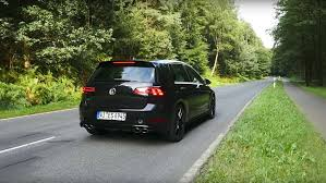 green volkswagen golf watch how a vw golf r clears its throat sprints to 250 km h