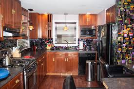 Kitchen Backsplash Colors New York Residence Multi Colored Dichroic Glass Tile Kitchen