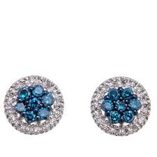 blue diamond stud earrings 0 40ctw colored and white diamond sterling silver stud earrings