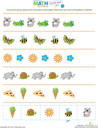 pattern math worksheets preschool cut it out patterns 1 worksheet education com