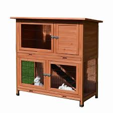 tinnapet large classic double story rabbit hutch with double trays