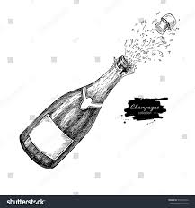 black and white champagne bottle clipart champagne bottle explosion hand drawn isolated stock vector