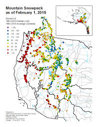 Cascade Mountains Map Mountain Snowpack Map Western Us