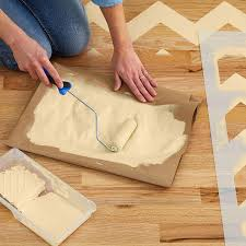 chevron stenciled floor