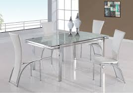 elegant futuristic dining room white crackled glass dining table