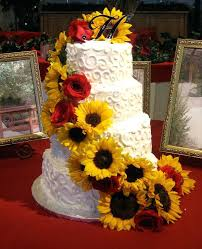 wedding cakes with sunflower decoration wedding cake cutting a i a