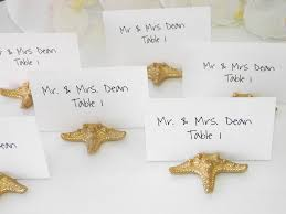 average card table size beach wedding gold starfish place card holder place card