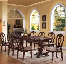 cherry kitchen table set acme furniture gwyneth ii 9 piece double pedestal dining table set