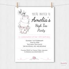 high tea birthday invitation teacups printable custom