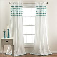 White Curtains With Pom Poms Decorating Lush Decor Pom Pom Window Curtain Panel 84 X 50