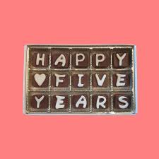 5 year anniversary gift for happy 5 years cubic chocolate letters by what candy says on zibbet