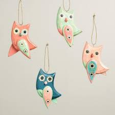 wooden owl with dangle wings ornaments set of 4 world market