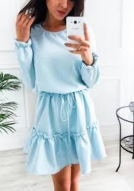 light blue mini dress light blue plain ruffle drawstring round neck fashion mini dress