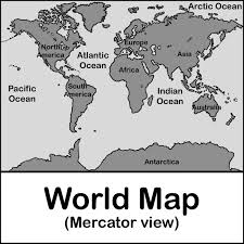 Black And White World Map World Map Labled Clipart