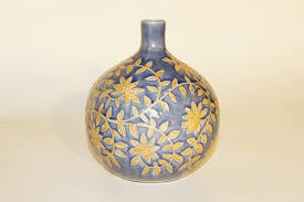 Celadon Vase Thai Celadon Vase Mixed With Blue Flower Motif