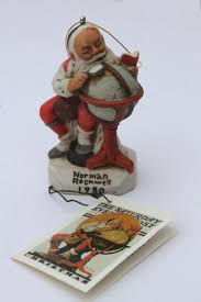 vintage 1980 norman rockwell ornament santa claus