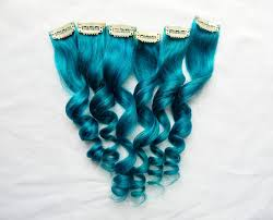teal hair extensions sea blue human hair extensions 1 pc clip in extensions