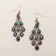 earrings world silver peacock drop earrings world market