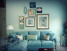 Living Room With Blue Sofa by Living Room Blue Decorating Clear