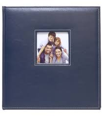 faux leather photo albums k company navy faux leather stitched 5 up photo album joann