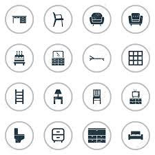 Elements Bathroom Furniture Vector Illustration Set Of Simple Furniture Icons Elements