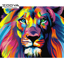advanced open background needlepoint stitch for halloween 3d diamond painting cross stitch colorful lion rhinestone crystal