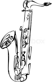 drawn saxophone black and white pencil and in color drawn