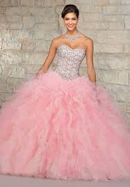 light pink quinceanera dresses gown ruffled organza skirt beaded crystals top