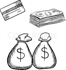 bank credit card stack of dollar bills and money bags with dollar