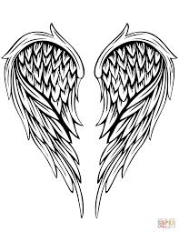 angel wings tattoo coloring free printable coloring pages