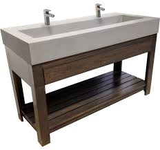 Trough Bathroom Sink With Two Faucets by Concrete Sink 48