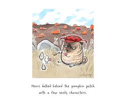 seedy characters brindle pug or thanksgiving card