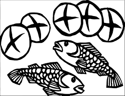 5 loaves and 2 fish coloring page wecoloringpage