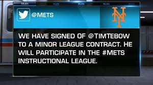 tim tebow signs with mets mlb com