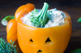 halloween party dip bell pepper jack o lantern veggies and ranch dip healthy ideas