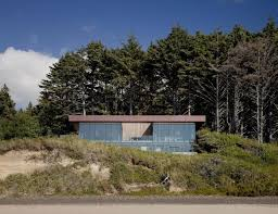 360 house perched above the beach at the edge of the tree line by