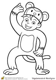 dessin d u0027un enfant déguisé en singe pour le mardi gras à colorier